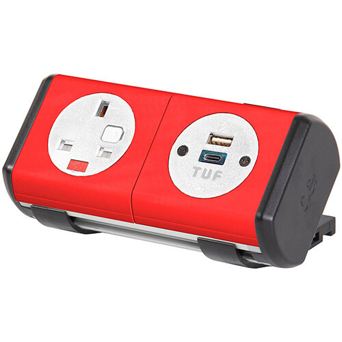Hubble Clip-on Power Module 1 x UK Socket, 1 x TUF (A& connectors) USB Charger - Red