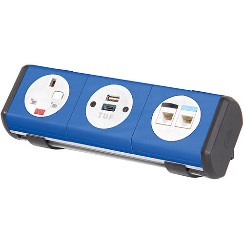 Hubble Clip-on Power Module 1 x UK Socket, 1 x TUF (A& connectors) USB Charger, 2 x RJ45 Sockets - Red