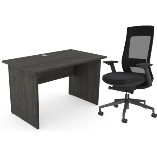 Home Office Ashford Desk W1200xD700mm 25mm Desktop Panel Legs Carbon Walnut &X.22 Posture Office Chair with Unique Mesh Back And Adjustable Lumbar Support Black