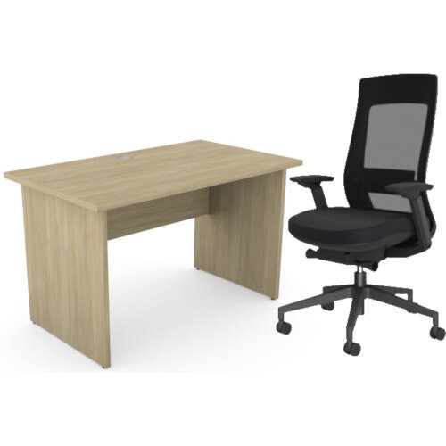 Home Office Ashford Desk W1200xD700mm 25mm Desktop Panel Legs Urban Oak &X.22 Posture Office Chair with Unique Mesh Back And Adjustable Lumbar Support Black