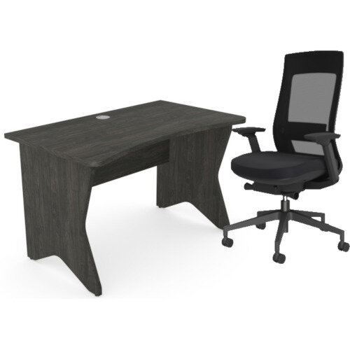 Home Office Medici Desk W1200xD700mm 25mm Desktop &Legs Carbon Walnut &X.22 Posture Office Chair with Unique Mesh Back And Adjustable Lumbar Support Black