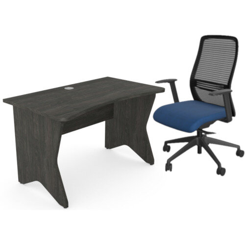 Home Office Medici Desk W1200xD700mm 25mm Desktop &Legs Carbon Walnut &NV Posture Office Chair with Contoured Mesh Back and Adjustable Lumbar Support Black Frame Navy Blue Seat