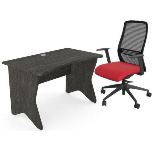 Home Office Medici Desk W1200xD700mm 25mm Desktop &Legs Carbon Walnut &NV Posture Office Chair with Contoured Mesh Back and Adjustable Lumbar Support Black Frame Red Seat
