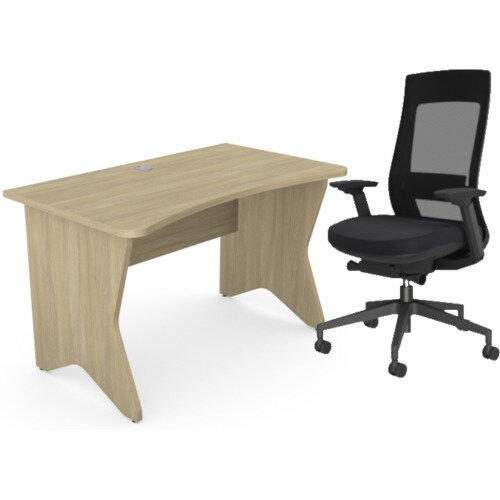 Home Office Medici Desk W1200xD700mm 25mm Desktop &Legs Urban Oak &X.22 Posture Office Chair with Unique Mesh Back And Adjustable Lumbar Support Black