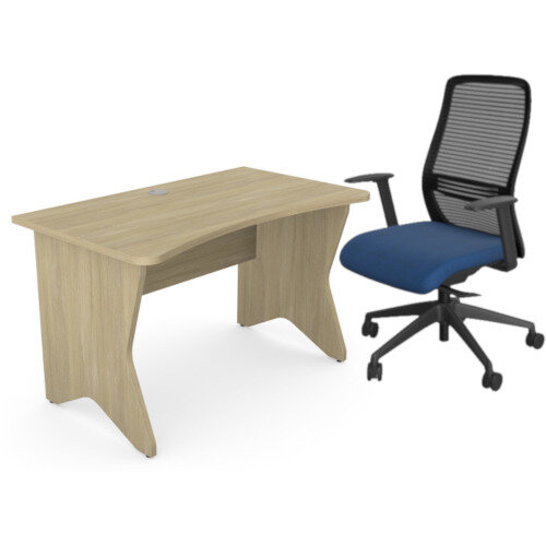 Home Office Medici Desk W1200xD700mm 25mm Desktop &Legs Urban Oak &NV Posture Office Chair with Contoured Mesh Back and Adjustable Lumbar Support Black Frame Navy Blue Seat