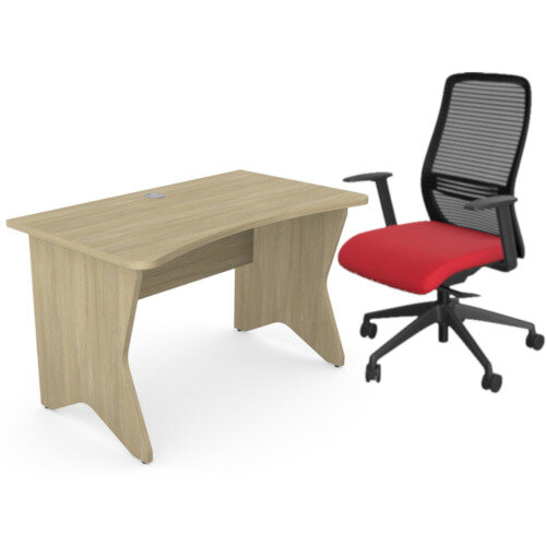 Home Office Medici Desk W1200xD700mm 25mm Desktop &Legs Urban Oak &NV Posture Office Chair with Contoured Mesh Back and Adjustable Lumbar Support Black Frame Red Seat