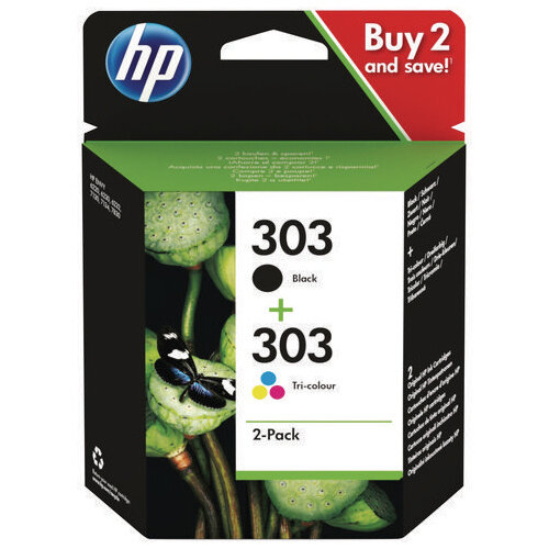 HP 303 2 Pack Tri-colour Black Original Ink Cartridge 3YM92AE
