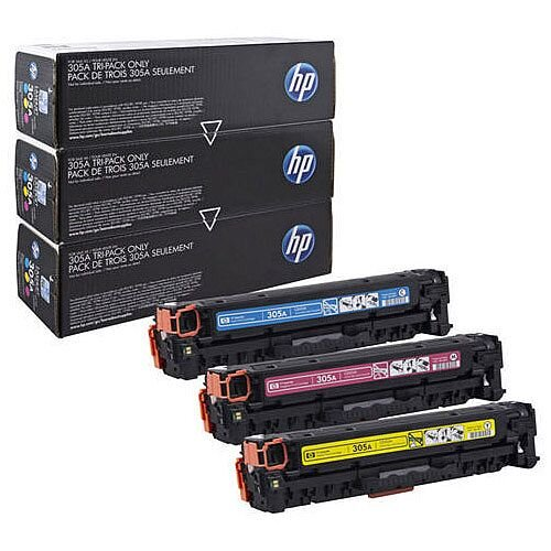 HP 305A 3-Pack Cyan Magenta Yellow Laser Toner Cartridge CF370AM