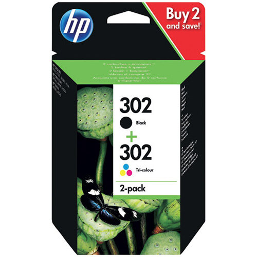 HP 302 Black and Colour Ink Cartridge Combo X4D37AE