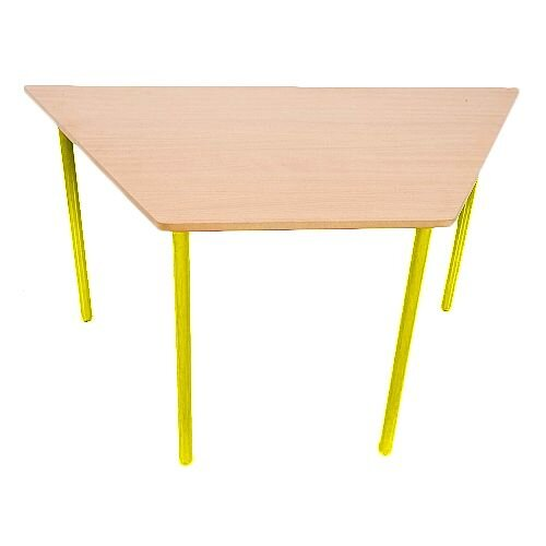 Trapezoidal Primary School Classroom Table Beech/Yellow 1200x600x600x550mm #PSD