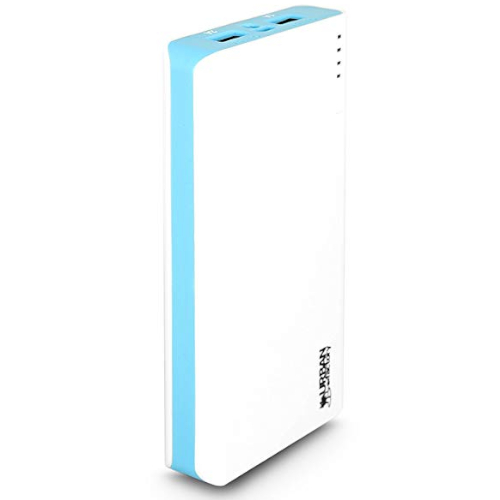 Urban Factory Power Bank 20.000mAh - Up To 10 Charging Cycles in a Row - Fast Charging of 2.10A 5V DC - for Smartphone, Tablet, USB Devie - White/Blue