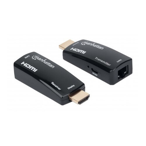 Manhattan 1080p@60Hz Compact HDMI over Ethernet Extender Kit, Extends Distances of Signal up to 60m with a Single Cat6 Ethernet Cable, Transmitter and Receiver included, Power over Cable, Ultra Slim Design, Black, AV transmitter & receiver, 60 m, Wired, B