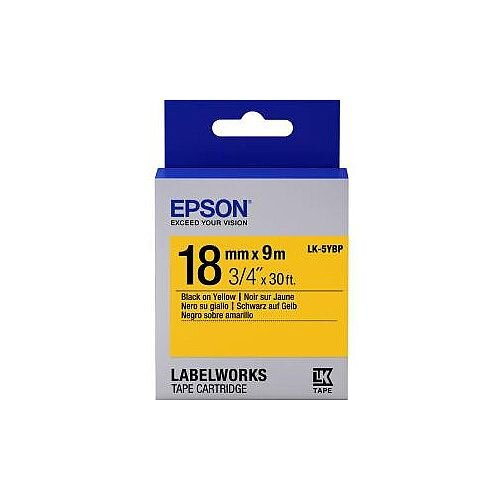 Epson LabelWorks LK-5YBP Label Tape 18mm Width x 9m Length Thermal Transfer Pastel Yellow C53S655003