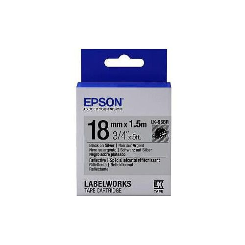 Epson LabelWorks LK-5SBR Label Tape 18mm Width x 1500mm Length Thermal Transfer Silver C53S655016