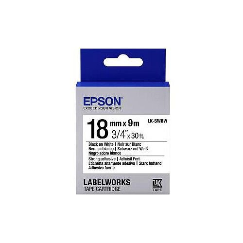 Epson LabelWorks LK-5WBW Label Tape 18mm Width x 9m Length Thermal Transfer White C53S655012