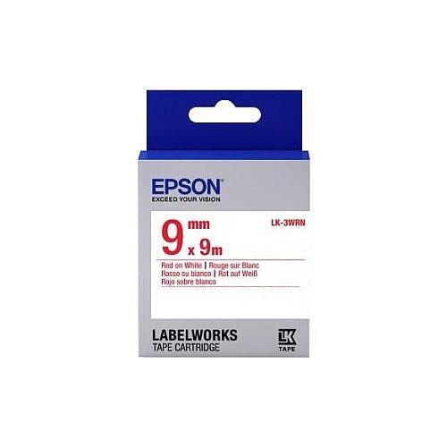 Epson LK-3WRN Label Tape 9mm Width x 9m Length Thermal Transfer White C53S653008