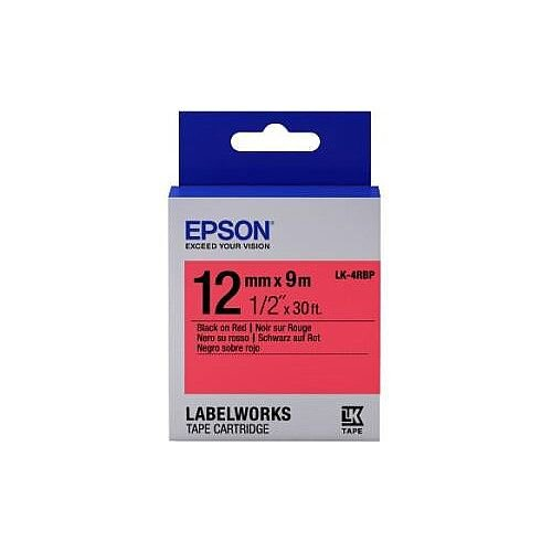 Epson LabelWorks LK-4RBP Label Tape 12mm Width x 9m Length Thermal Transfer Red C53S654007