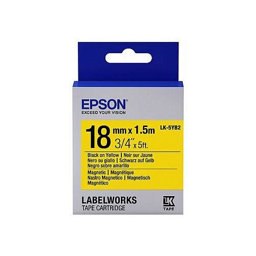 Epson LK-5YB2 Label Tape 18mm Width x 1500mm Length Rectangle Thermal Transfer Yellow C53S655017