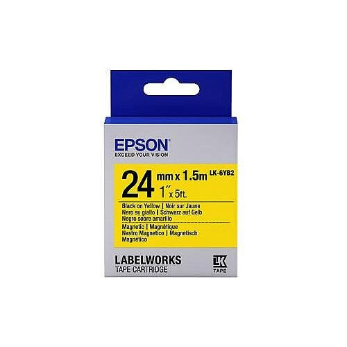 Epson LK-6YB2 Label Tape 24mm Width x 1500mm Length Rectangle Thermal Transfer Yellow C53S656011