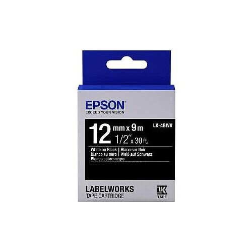Epson LabelWorks LK-4BWV Label Tape 12mm Width x 9m Length Thermal Transfer Black C53S654009