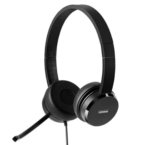 Lenovo 100 Wired Over-the-head Stereo Headset - USB, Noise Cancellation, 30mm Drivers, Adjustable Headband, 1.8m Cord - Black