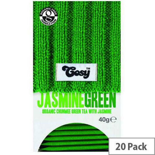 Cosy Jasmine Green Organic Tea 20 Individually Foil Wrapped Tea Bags - 20 Bags Per Pack