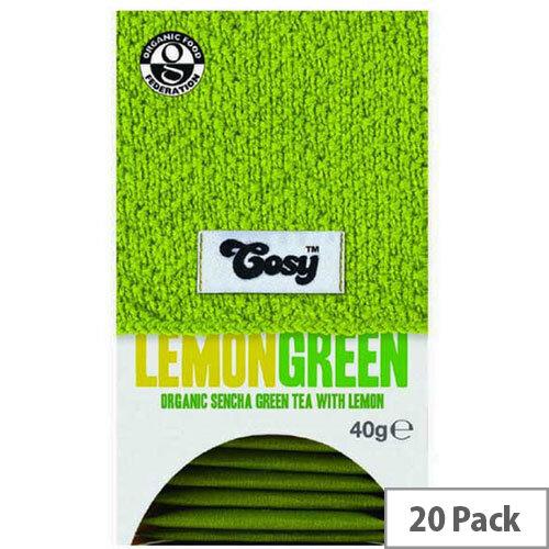 Cosy Lemon Green Organic Tea 20 Individually Foil Wrapped Tea Bags - 20 Bags Per Pack