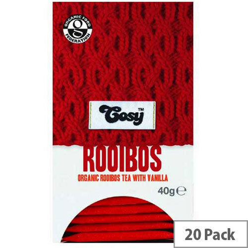 Cosy Rooibus & Vanilla Organic Tea Individually Foil Wrapped Tea Bags - 20 Bags Per Pack