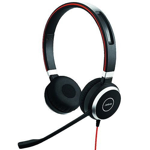 Jabra Evolve 40 Duo Headset - Stereo - USB Adapter with Audio 3.5 mm Connector - Optimised for Microsoft Skype for Business