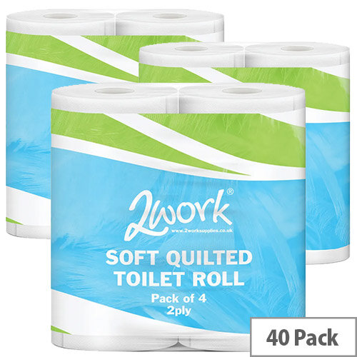 2Work Luxury White 2-Ply Toilet Roll Pack of 40 DQ4PK