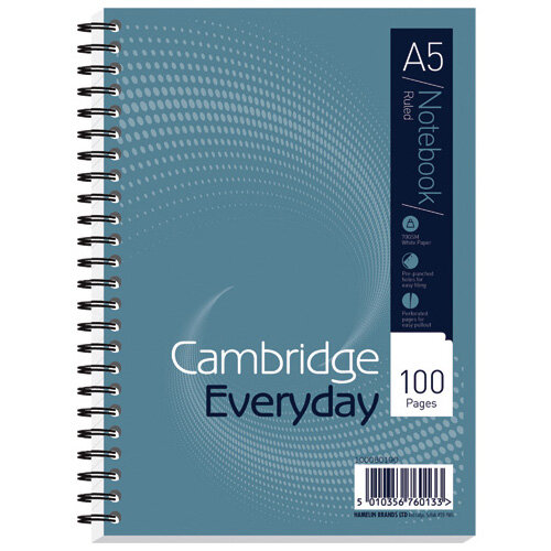 Cambridge Notebook Wirebound 100P 70g A5 Pack of 10 100080190