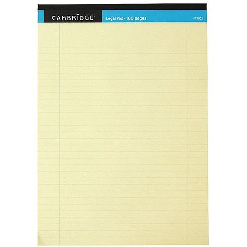 Cambridge Legal Memo A4 Pad 100 Pages Ruled with Margin Yellow 100080179