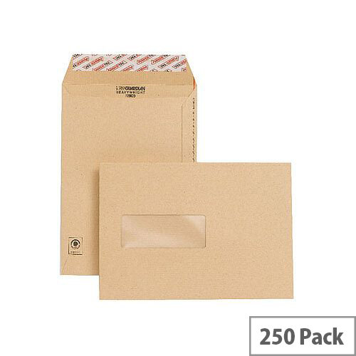 New Guardian C5 Window Manilla 130gsm Envelopes Peel and Seal Pocket Pack 250 Ref F26639