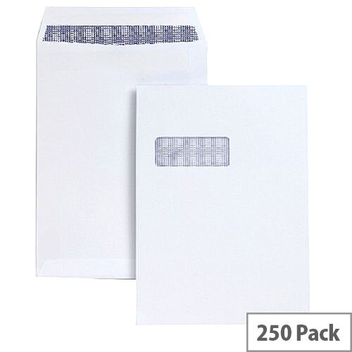 C4 Window White Envelopes Pocket Peel and Seal 100gsm 5 Star (Pack of 250)