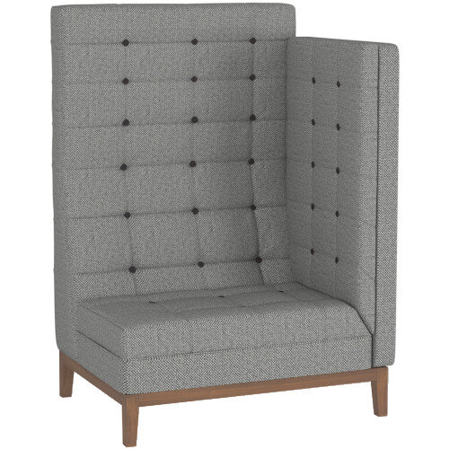 Frovi JIG MODULAR HIGH Seating Left End Unit With Stained Walnut Frame H1470xW1040xD760mm 430mm Seat Height - Fabric Band G
