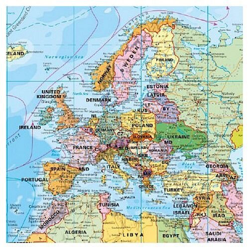 Franken World Map Pinnable Board 1:33,000,000, 133x88cm