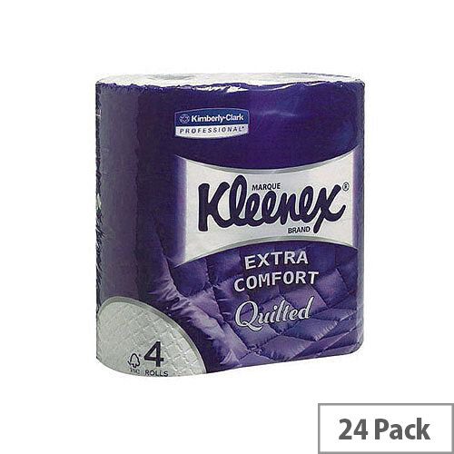 Kleenex Quilted Toilet Tissue Paper Rolls White 160 Sheets per Roll (Pack of 24) 8484