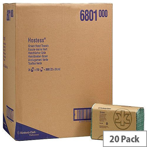 Kimberly Clark Hostess Hand Towels Z Fold Green 180 Towels Per Sleeve 20 Sleeves (3600 Sheets) 6801