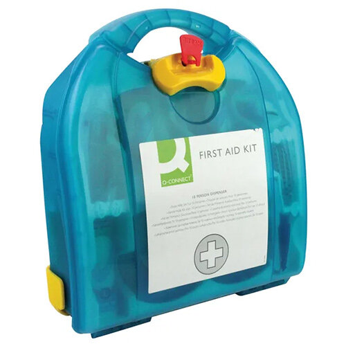 Q-Connect Multi-Purpose First Aid Kit – Caters Up To 10 People, Plastic, Hardwearing, Durable, Wall-Mountable, HSA Approved & Carry Handle (1002451)