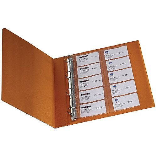 Q-Connect Punched Business Card Pocket Polypropylene A4 Capacity 20 Pack of 10 KF00716