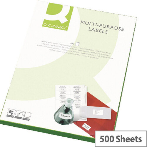 Q-Connect 8 Per Sheet Multi-Purpose Labels 99.1x67.7mm (Pack of 800 Labels)