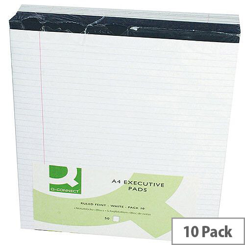 A4 Executive Pad Perforated Red Margin 50 Sheets Pack 10 Q-Connect
