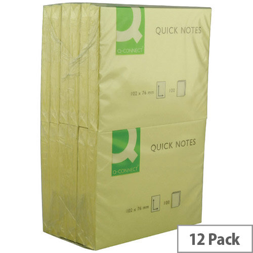 Q-Connect Quick Note Repositionable Pad 75x100mm Yellow pack 12