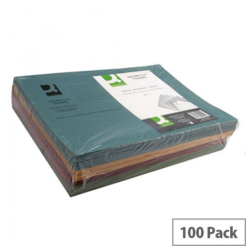 Q-Connect Square Cut Folder Medium-weight 250gsm Foolscap Assorted Pack of 100 KF01492