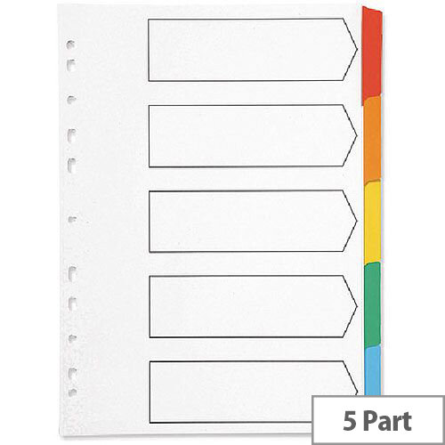 Index A4 Multi-Punched 5-Part Reinforced Multi-Colour Blank Tabs Q-Connect – Eco-Friendly, Labelling, Referencing, Works With A4, Mylar-Coated &Durable (KF01525)