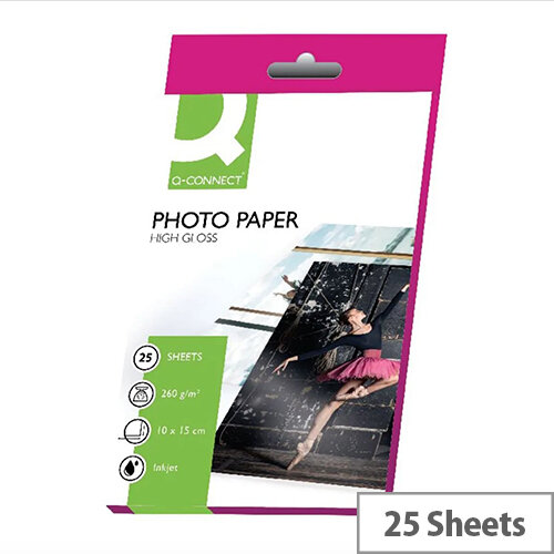 Q-Connect Photo Paper High Gloss 100x150mm 260gsm (Pack of 25)
