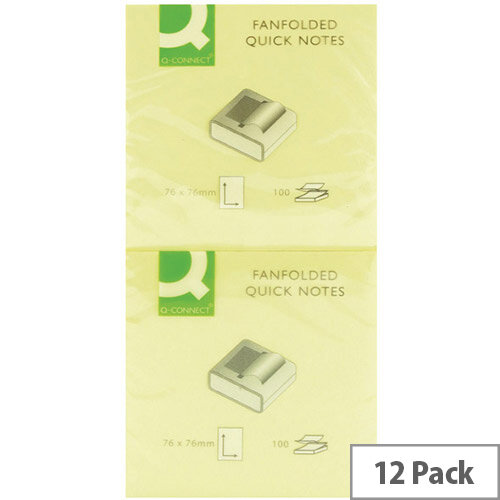 Q-Connect Fanfold Quick Note 75x75mm Yellow - Pack 12 x 100 Notes