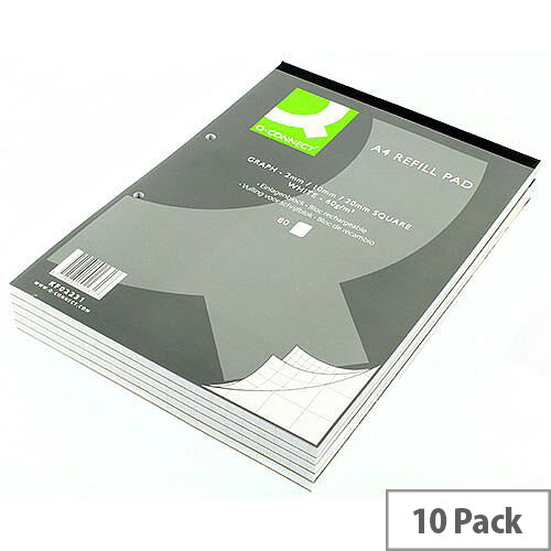 Refill Pad A4 Graph Punched 2-Hole Head Bound 80 Leaf 10 Pack Q-Connect