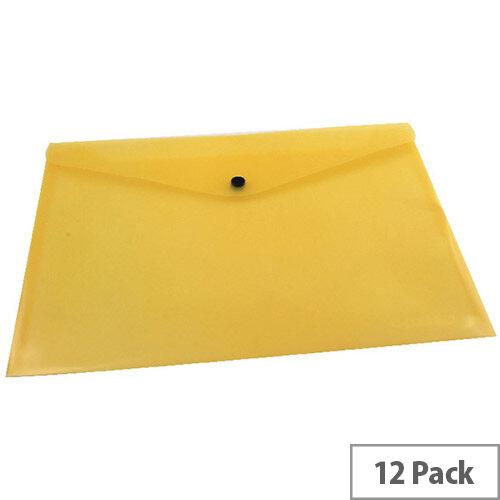 A4 Envelope Wallet Plastic Transparent Yellow Pack 12 Q-Connect