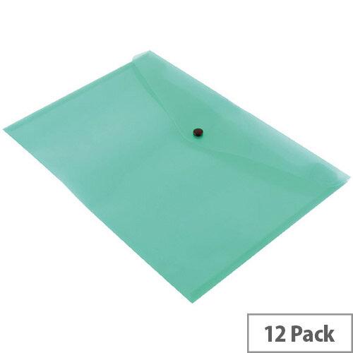 A4 Envelope Wallet Plastic Transparent Green Pack 12 Q-Connect